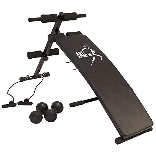 Bauchtrainer Profi Gym 750 - klappbare Sit-up-Bank mit Beinfixierung & Hanteln – Trainingsbank von ArtSport