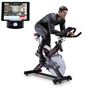 Sportstech Profi Indoor Cycle SX400 mit Smartphone App Steuerung + Google Street View, 22KG Schwungrad, Armauflage, Pulsgurt kompatibel – Speedbike in Studioqualität mit flüsterleisem Riemenantrieb – Fahrrad Ergometer bis 150 KG