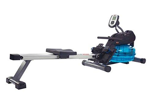 Wasser-Rudergerät BODY SCULPTURE ROWER BR5000, Ruderzugmaschine mit regulierbarem Wasserwiderstand, klappbares Wasserrudergerät mit Computer und Empfänger für Brustgurte, bis 136 kg