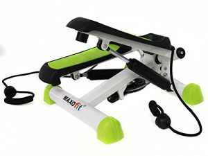 MAXOfit Deluxe Swing Stepper Greenline MF-11 mit Digital Zählwerk, Ministepper Inklusive Latex Trainingsbänder