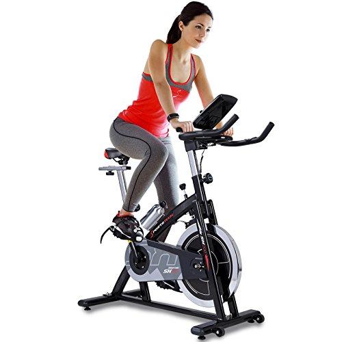 Sportstech Profi Indoor Cycle SX200 mit Smartphone App Steuerung + Google Street View, 22KG Schwungrad, Armauflage, Pulsgurt kompatibel - Speedbike mit flüsterleisem Riemenantrieb - Fahrrad Ergometer bis 125 KG