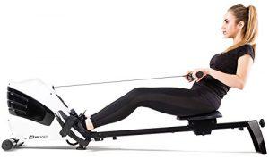 Hop-Sport Rudergerät CROSS Ruderzugmaschine Computer, geräuscharmes Zugsystem, Transportrollen, 8 Widerstandsstufen, inkl. Springseil und Schweißbänder