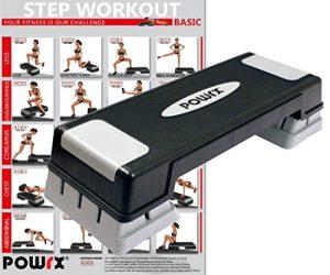 POWRX Steppbrett Höhenverstellbar inkl. Workout Stepper Step Trainer Aerobic Stepper Stepbench Bis 150 kg