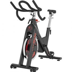 GORILLA SPORTS® Indoor Cycling Bike mit 18 kg Schwungrad – Profi-Heimtrainer Fahrrad mit Tretlager F50x100 bis 150 kg belastbar
