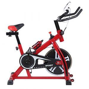 Blackpoolal SP6901 Hometrainer LCD Fitnessfahrrad Heimtrainer Fahrrad Fitness Bike Indoor Cycle Trimmrad Cycling Rad Sattel, Fitnessbike Fahrradtrainer Fahrrad Ergometer bis 120 KG (Rot)