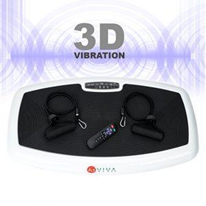 AsVIVA Vibrationsplatte 3D-Vibration V10 mit 3D Wipp-Technik 2 x 200W flüsterleise Motoren – 3-Zonen Trainingsfläche, vertikale, horizontale und Surfing Vibrationstechnik inkl. Fernbedienung