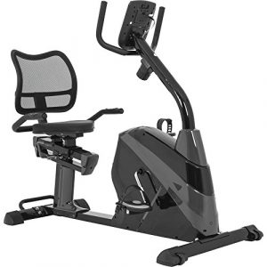 GORILLA SPORTS® Liege-Ergometer mit 3 kg Schwungrad – Sitz-Heimtrainer Fahrrad für Zuhause mit Trainingscomputer und Pulssensoren