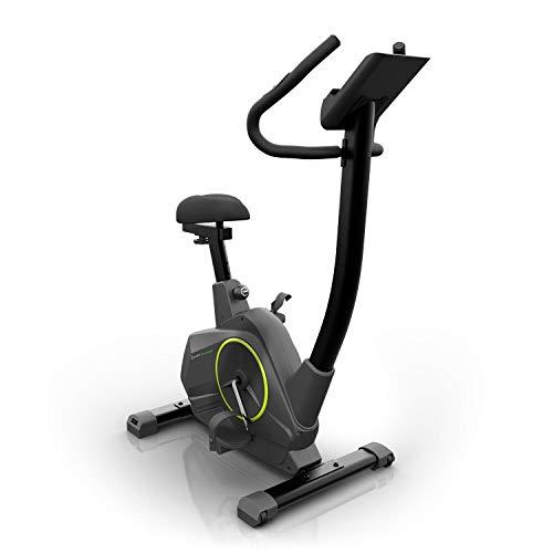 Klarfit Epsylon Cycle Heimtrainer • Fitnessfahrrad • Fitnessbike • Pulsmesser • 12 kg Schwungmasse • Riemenantrieb • höhenverstellbar • Ausdauer-Training • Tablet-Halterung • max. 120 kg • schwarz