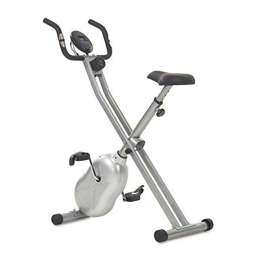 Fahrrad-Heimtrainer X-Bike Fitnessbike, mit Trainingscomputer und Handpulssensoren, klappbar, belastbar bis 100kg, Silber
