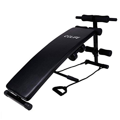 CCLIFE Sit Up Bank Trainingsbank Bauchtrainer Rückentrainer Klappbar 6-Fach verstellbar mit 2 Hanteln und Seilen