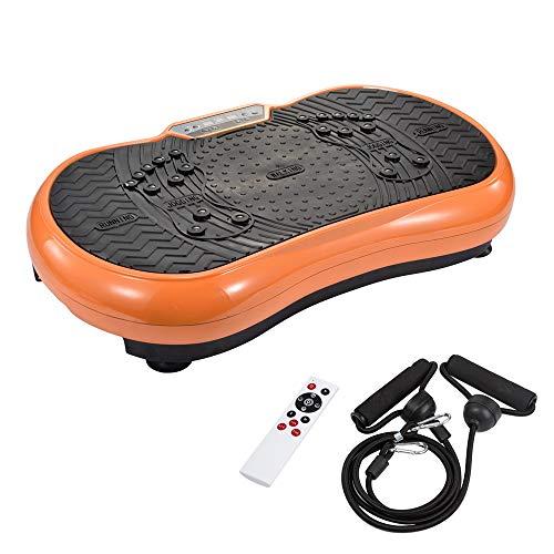 TIMMY Vibrationsplatte Vibrationsplattform Body Shaper Oszillationsplatte Vibrationstrainer Massage Fitnessgerät, 99 Stufen mit LCD-Display Fernbedienung Bluetooth-Lautsprecher, 150kg Tragkraft,Orange