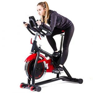 Hop-Sport Indoor Cycle HS-085IC Speed Bike Bluetooth 4.0 Smartphone Steuerung Google Street View gepolsterte Armauflagen Transportrollen Schwungmasse 18 kg