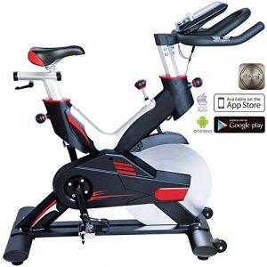 AsVIVA Indoor Cycle Speedbike S15 Bluetooth | Fitnessbike inkl. SPD Klickpedale, 27kg Schwungmasse, Pulsempfänger inkl. Brustgurt | mit flüsterleisem Riemenantrieb | Filzbremse