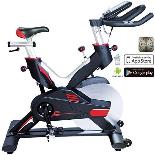 AsVIVA Indoor Cycle Speedbike S15 Bluetooth   Fitnessbike inkl. SPD Klickpedale, 27kg Schwungmasse, Pulsempfänger inkl. Brustgurt   mit flüsterleisem Riemenantrieb   Filzbremse