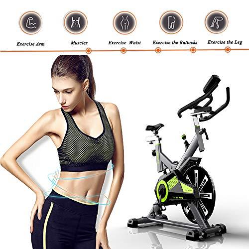 RISILAYS Profi Indoor Cycle Hometrainer,Armauflage,Pulsgurt Kompatibel-Speedbike Mit Flüsterleisem Riemenantrieb-Fahrrad Ergometer Bis150kg,Green