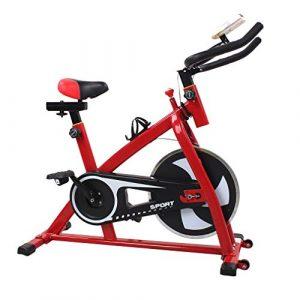 Blackpoolal Indoor Cycle Heimtrainer Cycling Fahrrad Trimmrad Indoor Fitness Bike mit LCD Display Speedbike Fitnessfahrrad Fitnessbikes Einstellbare Fahrradtrainer Hometrainer bis 120KG, Rot