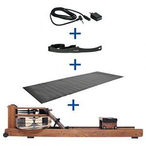Water Rower Rudergerät Nussbaum + S4 Monitor Empfänger Brustgurt Bodenschutzmatte