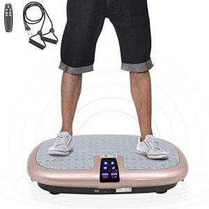 ISE Vibrationsplatte mit einer rutschsicheren Trainingsfläche, LCD Display, Fernbedienung, 30 Geschwindigkeitsleveln und Trainingsbändern