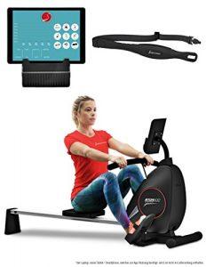Sportstech Rudergerät RSX400 mit Smartphone APP, Pulsgurt inkl. – Rudermaschine für Ihr Zuhause, klappbar mit 8fach einstellbarem Magnetwiderstand und kugelgelagertem Sitz