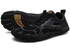 Voovix Herren Damen Barfußschuhe Fitnessschuhe Laufschuhe Minimalistische Traillaufschuhe Trekkingschuhe Wanderschuhe Outdoor Sneaker im Sommer Schwarz43