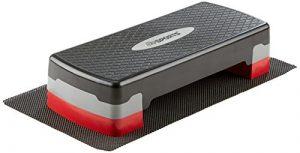 ScSPORTS Aerobic Steppbrett, Stepper, 2-fach höhenverstellbar, mit Matte, schwarz rot grau, 68 x 28 x 10/15 cm