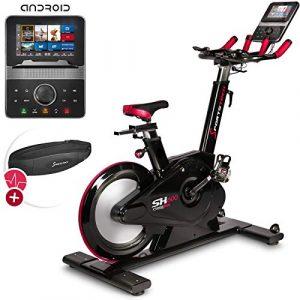Sportstech SX600 Elite Indoor Cycle Bike mit Smarter Android Konsole, Magnetbremssystem, 26KG Schwungrad, Speedbike 3in1 Aero Sportlenker, computergesteuerter Widerstand 32 Stufen & Fahrrad-Ergometer
