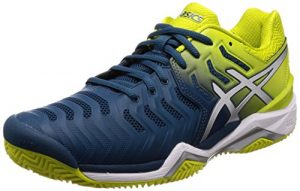 ASICS Herren Gel-Resolution 7 Clay Tennisschuhe, Mehrfarbig (Ink Blue/Sulphur Spring/White 4589), 44.5 EU