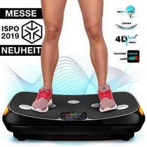 Messe-Neuheit 2019! 4D Vibrationsplatte VP400 mit einmaligen Curved Design, Color Touch Display, Riesige Fläche, Smart LED Technologie inkl. Remote-Watch, Trainingsbänder, Übungsposter & Schutzmatte