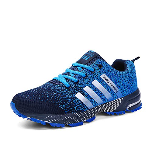 Kuako Turnschuhe Fitness Trekking Laufschuhe Straßenlaufschuhe Sportschuhe Air Herren Damen,Blau-1,43 EU