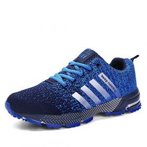 Laufschuhe Retwin Turnschuhe Straßenlaufschuhe Sneaker mit Snake Optik Damen Herren Sportschuhe Blau 43