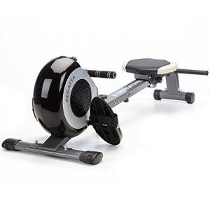 skandika Rudergerät Regatta Pro 5 Neptun SF-1140, Geräusch-/Wartungsarmes Bremssystem über Magnettechnologie, zusammenklappbar, Herzfrequenzanalyse und Multifunktionstrainingscomputer, schwarz