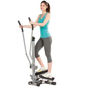 maxVitalis Side Stepper mit Handgriff, Mini-Stepper mit Haltegriff, Trainingscomputer & Handpulsmessung, bis 100 kg belastbar, Crosstrainer Anthrazit