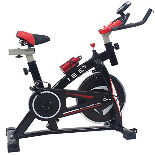 ISE Profi Indoor Cycle Ergometer Heimtrainer mit LCD Anzeige,Armauflage,Pulsgurt&gepolsterte,13kg Schwungrad,Fitnessbike Speedbike mit flüsterleise Riemenantrieb-Fahrrad Ergometer bis 135Kg SY-7802