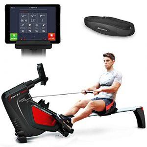 Sportstech Rudergerät RSX500 mit Smartphone steuerbar – Pulsgurt im Wert von 39,90 inkl. – Fitness App – 16 Programme – Magnetwiderstand – Wettkampfmodus – klappbar