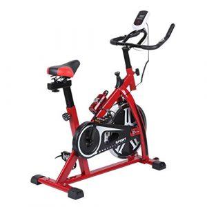 Kitechildhrrd SP6901 Hometrainer LCD Fitnessfahrrad Heimtrainer Fitness Bike Indoor Cycle Trimmrad Cycling Fitnessbike Fahrradtrainer Fahrrad Ergometer bis 120 KG, Rot