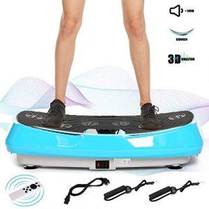 ACEVIVI 3D Vibrationsplatte Oszillierend, Vibrationsgeräte Fitness mit Dual-Motoren, einmaligen Curved Design, Color Touch Display, inkl. Trainingsbänder, Fernbedienung (Blau)