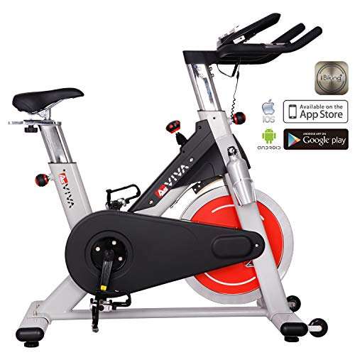AsVIVA Indoor Cycle S8 Pro Speed-Bike mit Bluetooth App Kontrolle - Fitnessbike & Heimtrainer inkl. Klickpedale und Riemenantrieb, Speedbike pro silber
