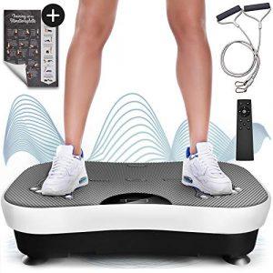 Sportstech Vibrationsplatte VP210 mit Bluetooth, Oszillationstechnologie für zu Hause, Magnet Fußreflexzonenmassage Funktion, Trainingsbändern + Fernbedienung + Lautsprecher im Vibrationsgerät