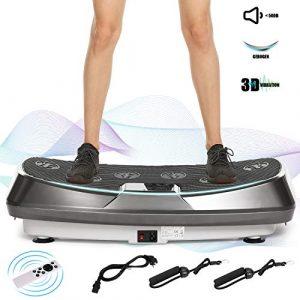 ACEVIVI 3D Vibrationsplatte Oszillierend, Vibrationsgeräte Fitness mit Dual-Motoren, einmaligen Curved Design, Color Touch Display, inkl. Trainingsbänder, Fernbedienung (Grau)
