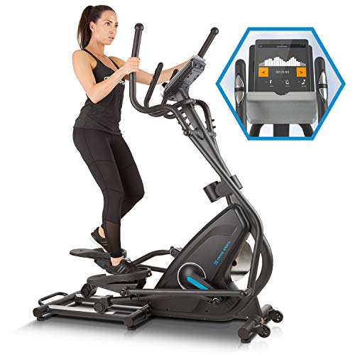 Capital Sports Helix Star MR Cross Trainer mit Trainingscomputer Heimtrainer (Kinomap-App-Unterstützung, Bluetooth, Schwungmasse: 21 kg, 32-stufiger Magnetwiderstand, Pulsmesser) schwarz