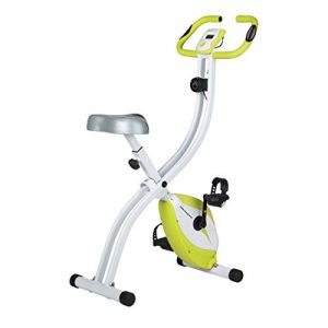 Ultrasport Heimtrainer F-Bike 150 mit Handpuls-Sensoren, Fitnessfahrrad mit Trainingscomputer und Handpulssensoren, klappbar, grün