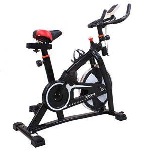 Kitechildhrrd S300 Hometrainer Fahrrad LCD Fitnessfahrrad Heimtrainer Fitness Bike Indoor Cycle Trimmrad Cycling Rad Sattel Fahrradtrainer Ergometer bis 150 KG, Schwarz
