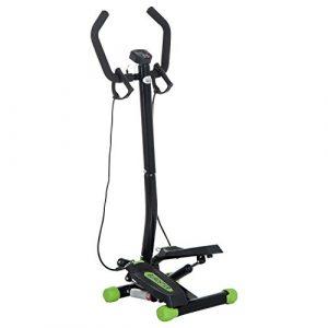Homcom® Stepper Sidestepper mit Haltegriff Trainingsbänder Heimtrainer LCD Display Stahl