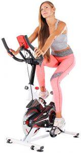 Miweba Sports Indoor Cycling MS100 Fitnessbike – 10 Kg Schwungmasse – Stufenfreie Widerstandsverstellung – Pulsmessung (Weiß)