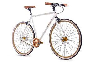 CHRISSON 28 Zoll Vintage Fixie Singlespeed Retro Fahrrad FG Flat 1.0 Weiss Gold – Urban Old School Fixed Gear Bike für Damen und Herren