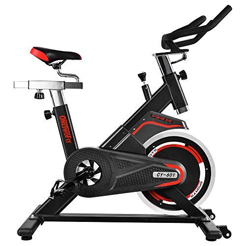 OneTwoFit | Professioneller Heimtrainer, Indoor Workout Cycling Spinning Bike mit perfekt einstellbarem Sattel,solidem Schwungrad mit direktem Riemenantrieb, maximales Benutzergewicht: 200kg | OT086