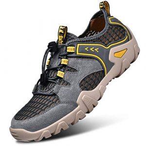 FLARUT Herren Outdoorsandalen Sommer Wanderschuhe Trekking Sandalen Super Atmung Laufschuhe Wanderhalbschuhe Lässige Sneaker Sportsandalen(grau,44)