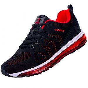 Sportschuhe Herren Damen Air Laufschuhe Luftkissen Dämpfung rutschfest Turnschuhe Outdoor Leichte Atmungsaktiv Sneaker für Maenner Frauen Rot 39 EU