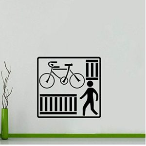 Fun Küche und Fitness-Bike Wandaufkleber PVC Cross Street Dekoration Grafik 59x57cm