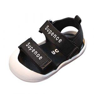 SEWORLD Sandalen Kinder Kleinkind Baby Mädchen Jungen Sommer Mode Brief Coole Schuhe Sandalen Hausschuhe Strand Sandalen Unisex Lauflernschuhe Zehensandalen Sportsandalen(Schwarz,22.5 EU)